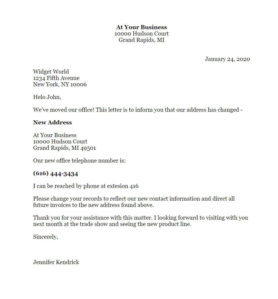 free sample change of address letter