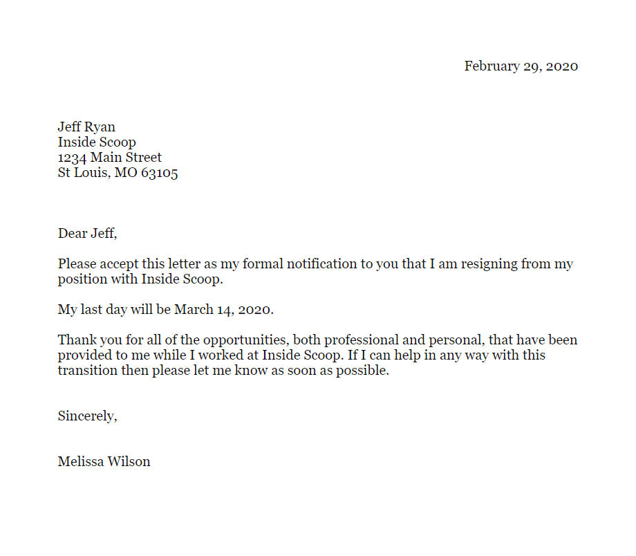 Formal Letter Of Resignation Example from www.atyourbusiness.com